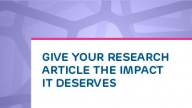 Give Your Research Article the Impact it Deserves